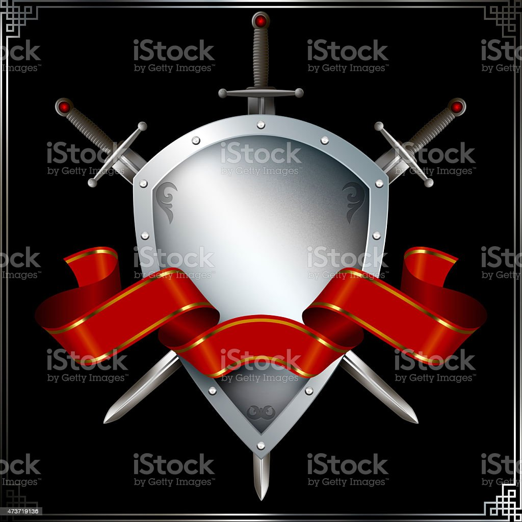Medieval shield with swords and ribbon. vector art illustration