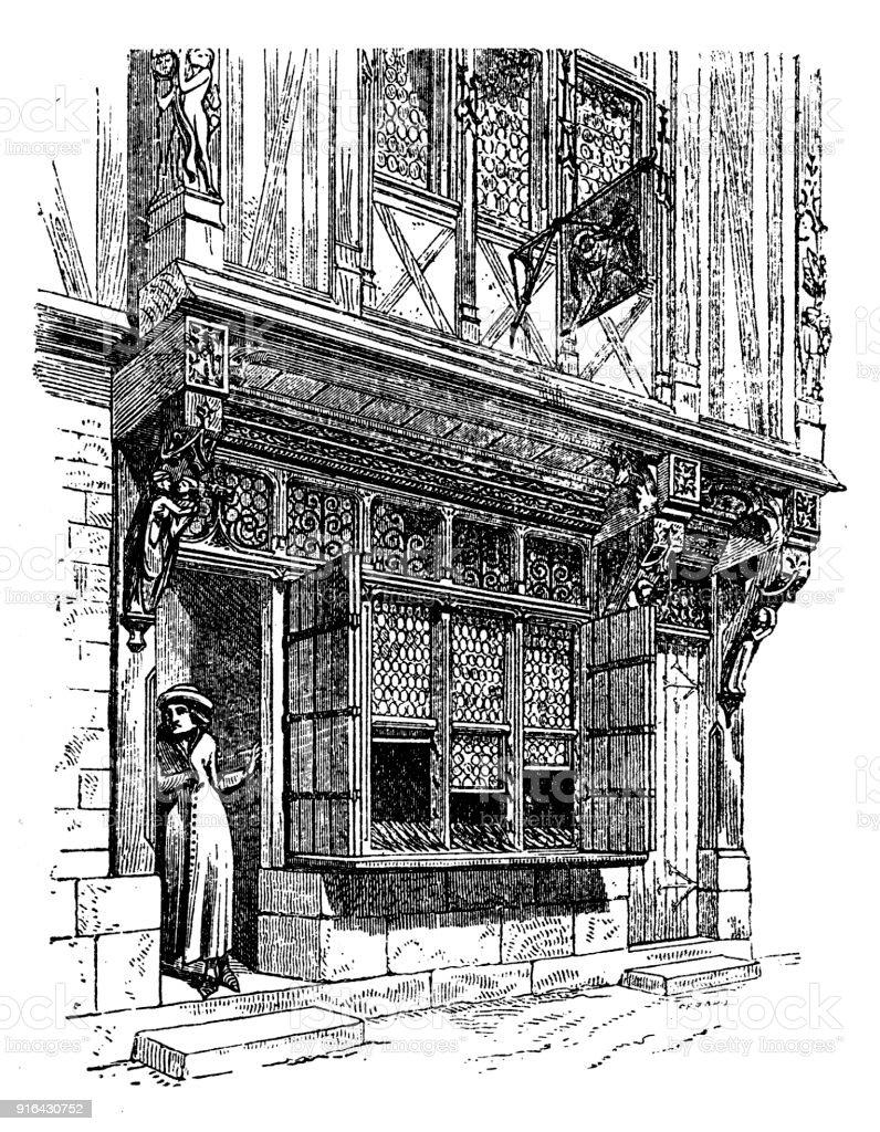 Medieval Shop Facade vector art illustration