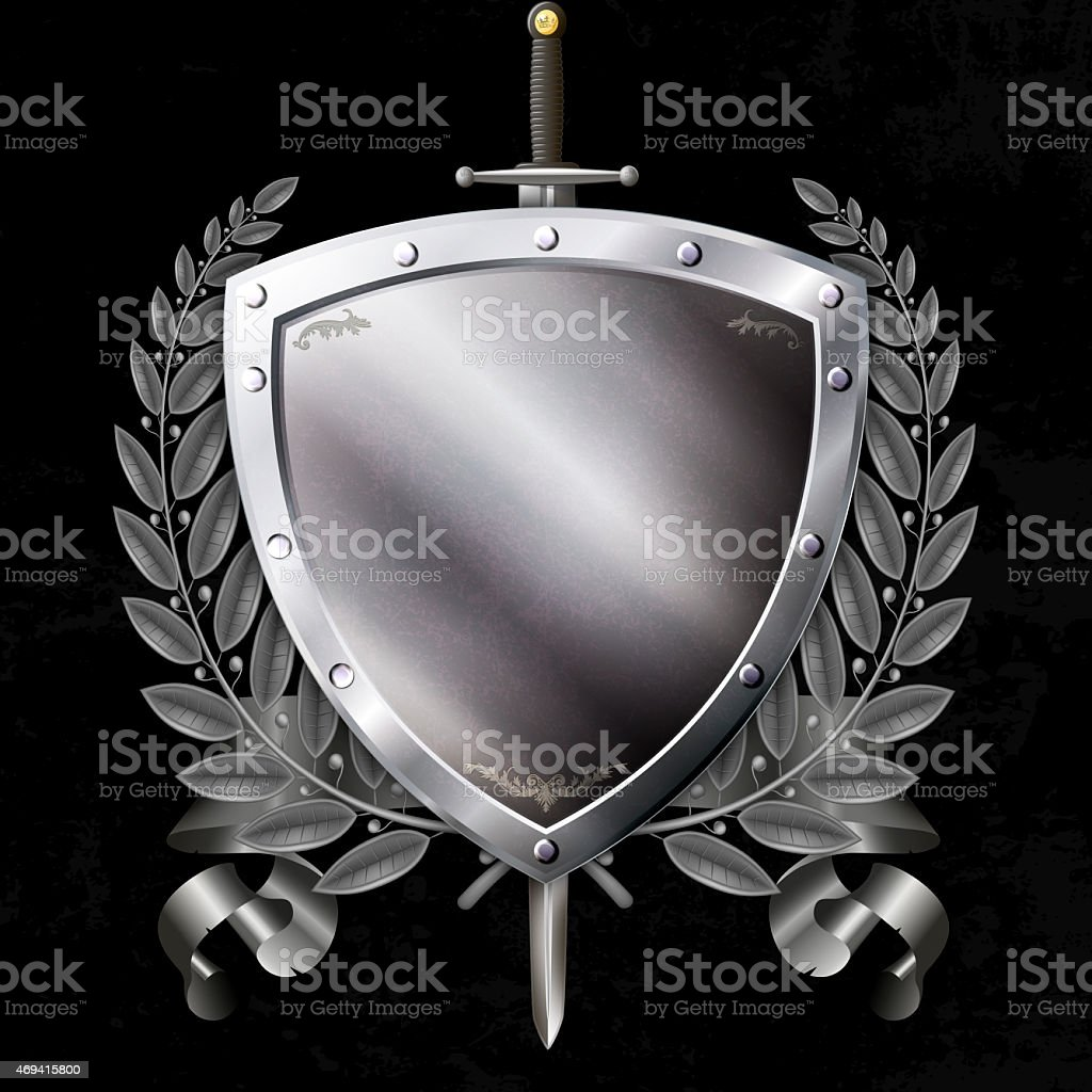 Medieval silver shield with sword and ribbon and laurel branch. vector art illustration