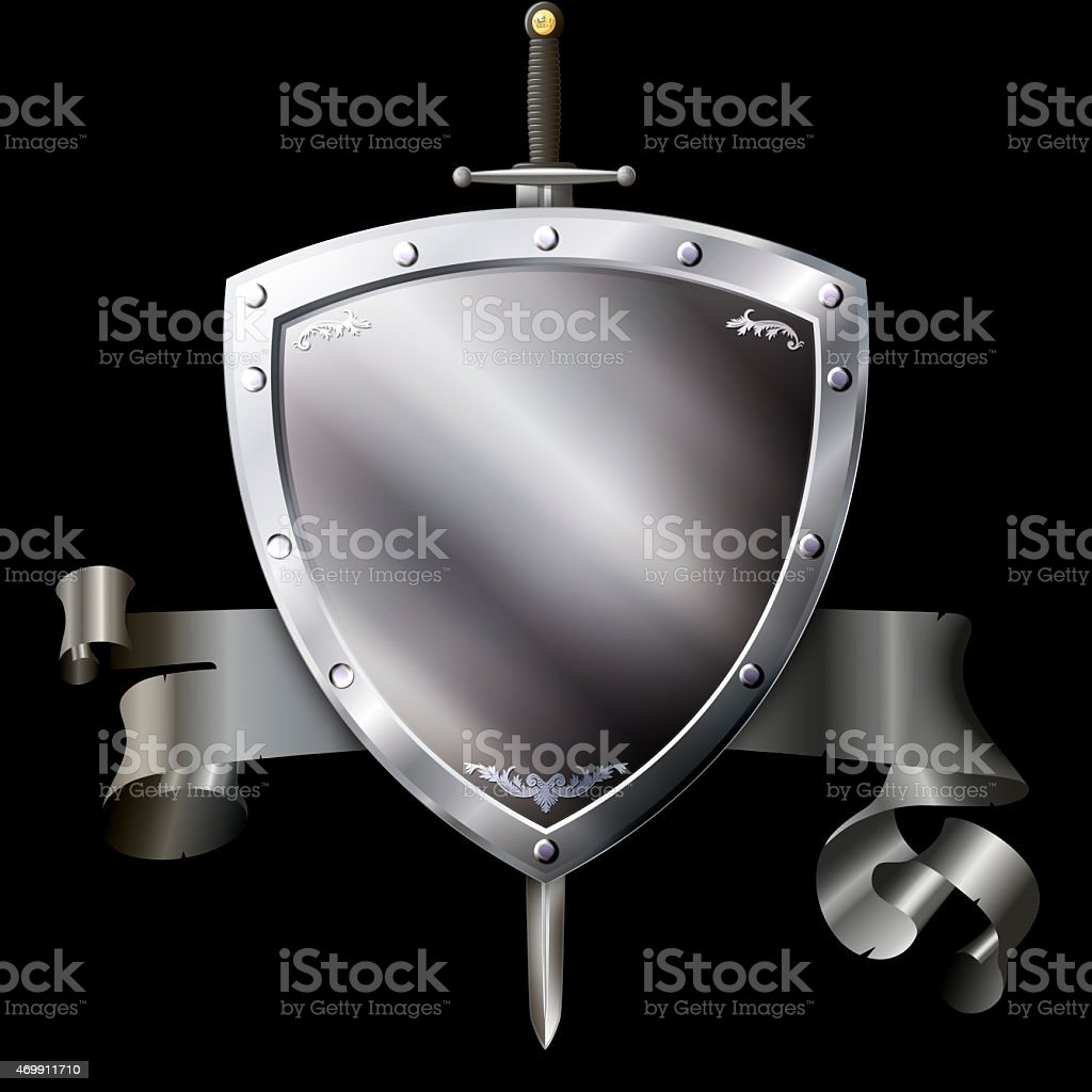 Medieval silver shield with sword and silver ribbon. vector art illustration