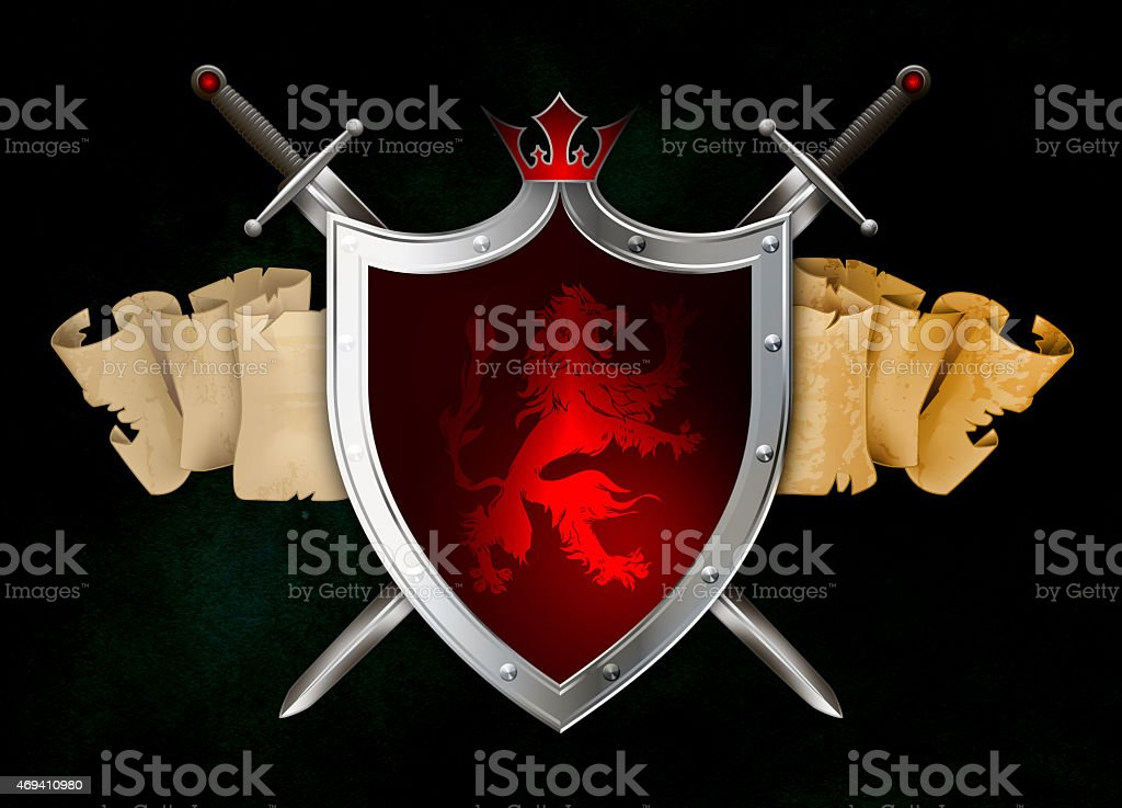 Medieval silver shield with swords and heraldic elements. vector art illustration