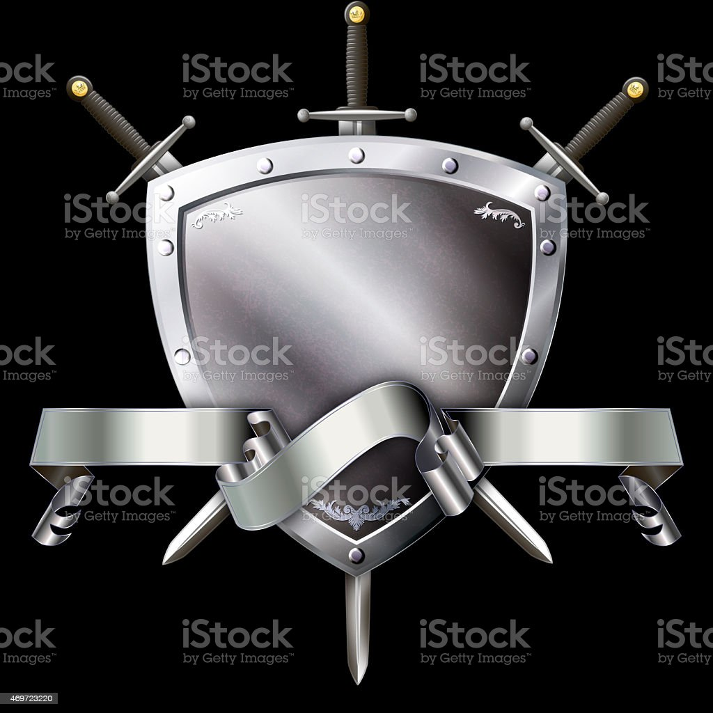 Medieval silver shield with swords and silver ribbon. vector art illustration