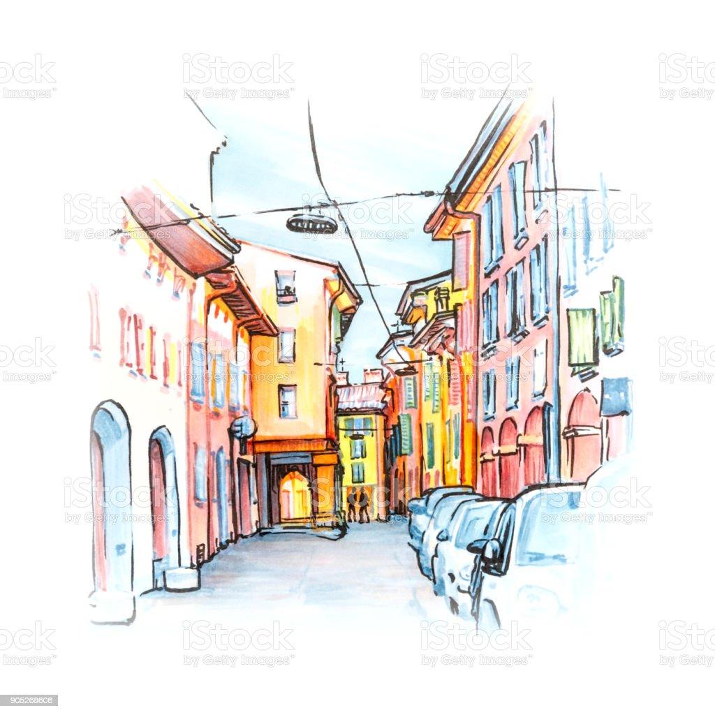 Medieval street in Bologna, Italy. Sketch vector art illustration