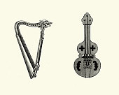 istock Medieval stringed instruments, Harp and Rebec 1175444927