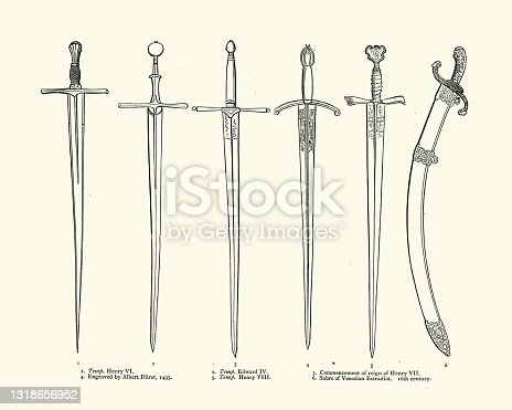 istock Medieval swords, English 15th  and 16th Century, Venetian Sabre 1318656952