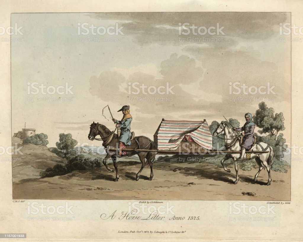 Medieval Travel A Horse Litter 14th Century Stock Illustration Download Image Now Istock