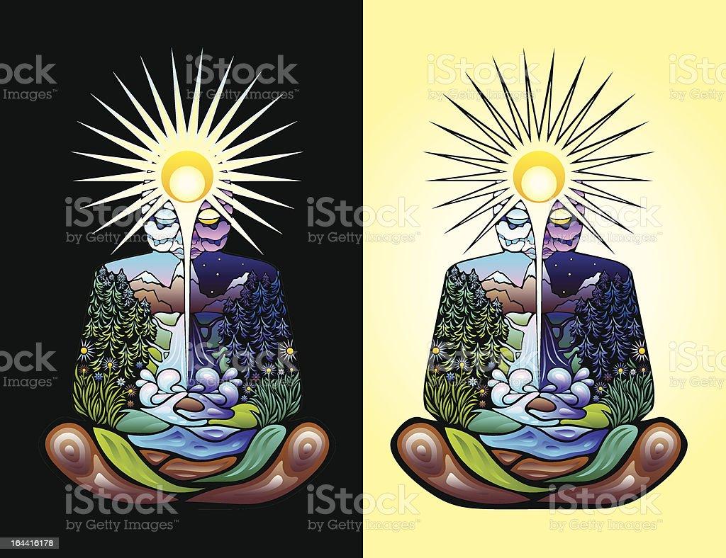 Meditating man psychedelic vector illustration royalty-free stock vector art