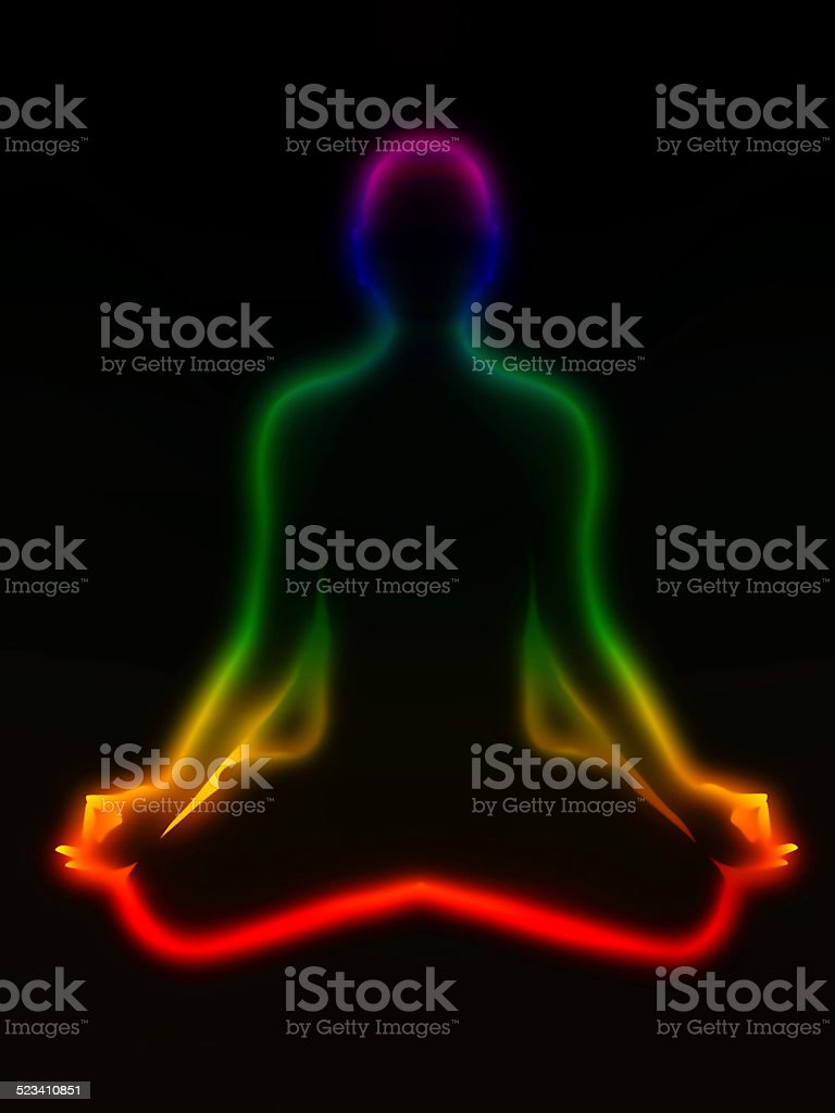 Meditation, chakras vector art illustration