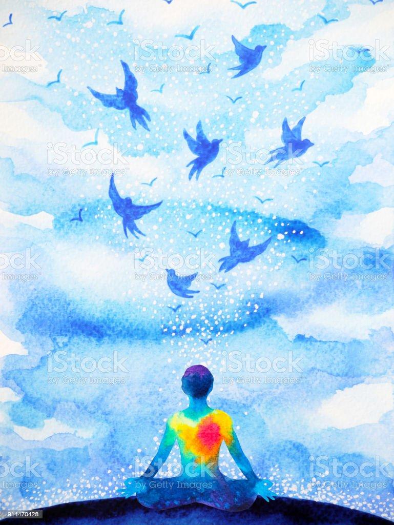 Meditation Human Flying Birds In Blue Sky Abstract Mind ...