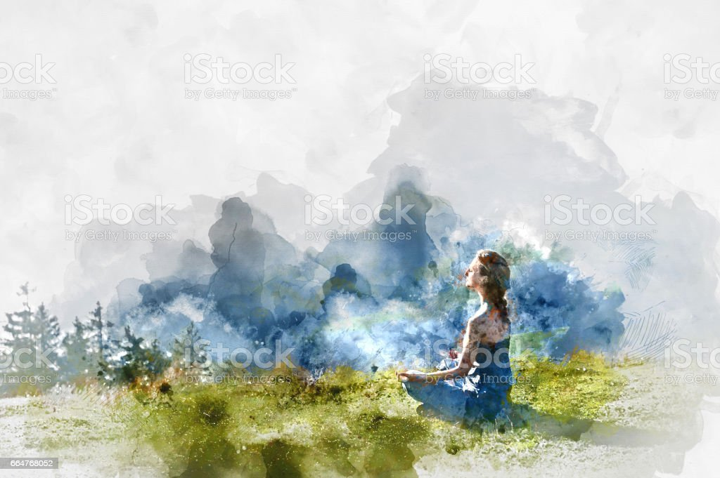 Meditation vector art illustration