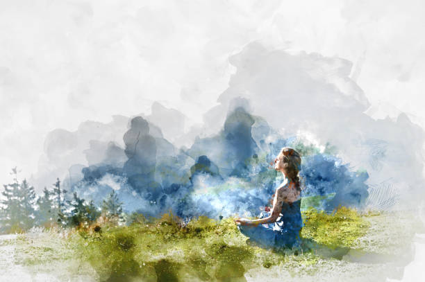 Meditation Young woman practice yoga. Digital watercolor painting meditation stock illustrations