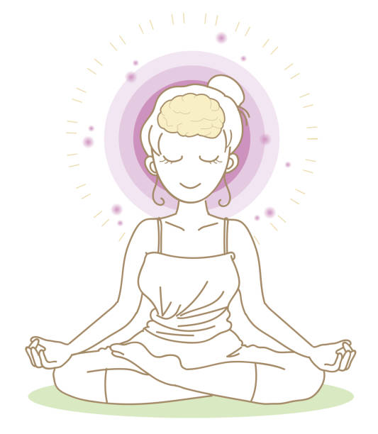 Meditation - Yoga pose -Woman Vector illustration image of Memory and meditation hippocampus brain stock illustrations