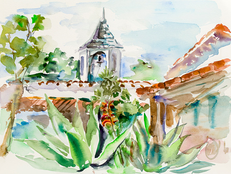 Mediterranean landscape Watercolor painting