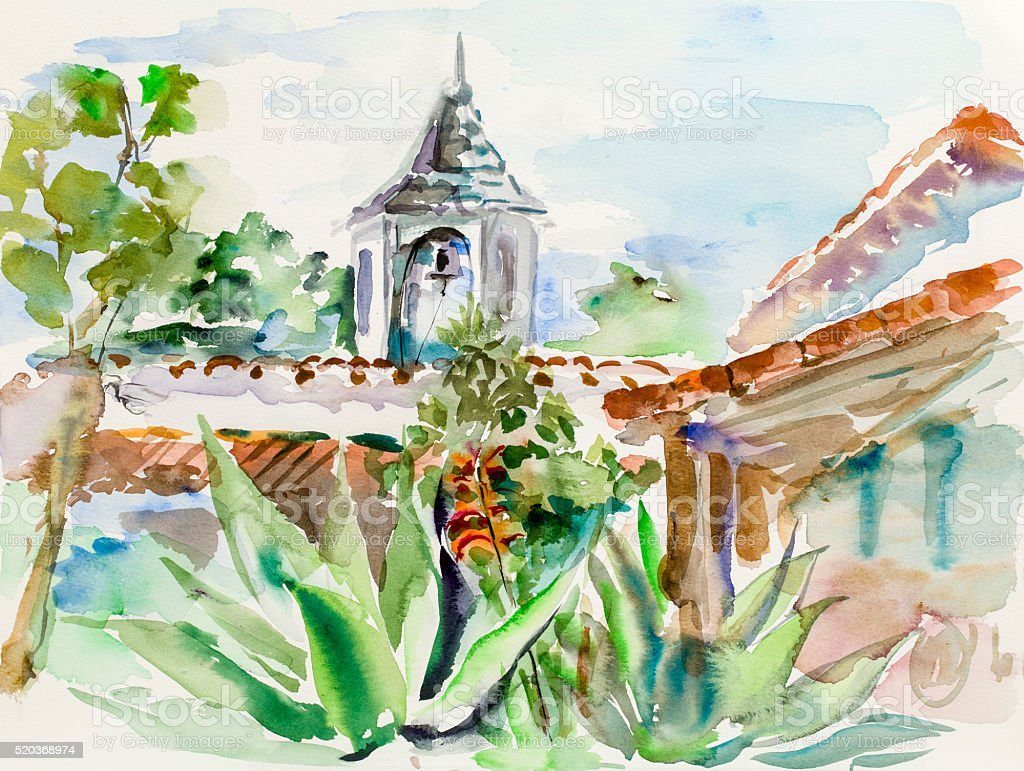 Mediterranean landscape Watercolor painting vector art illustration