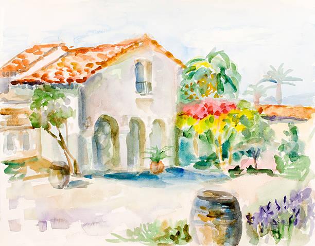 ilustraciones, imágenes clip art, dibujos animados e iconos de stock de mansión mediterráneo y vinary - clase de arte