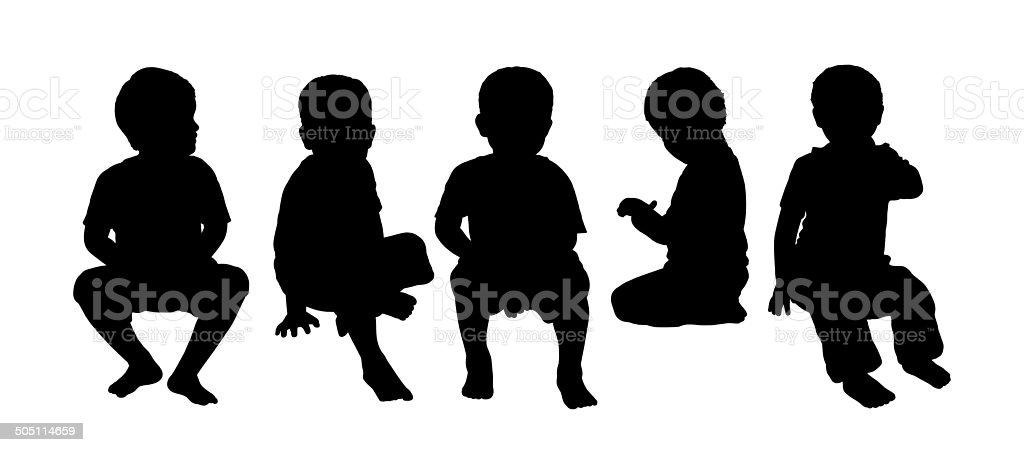 medium group of children seated silhouette 4 vector art illustration
