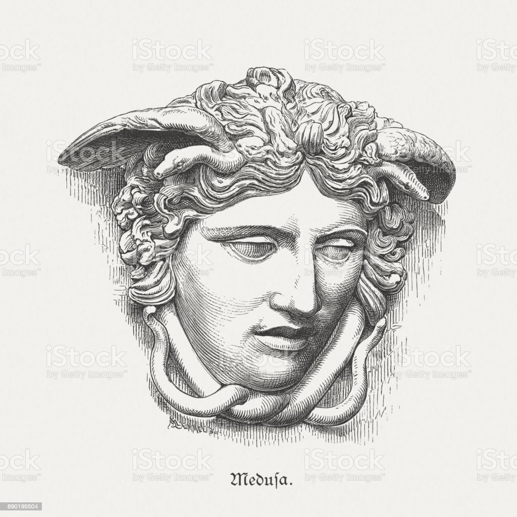Medusa Rondanini, ancient sculpture, Glyptothek in Munich, Germany, published 1879 vector art illustration