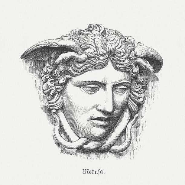 medusa rondanini, ancient sculpture, glyptothek in munich, germany, published 1879 - mythology stock illustrations