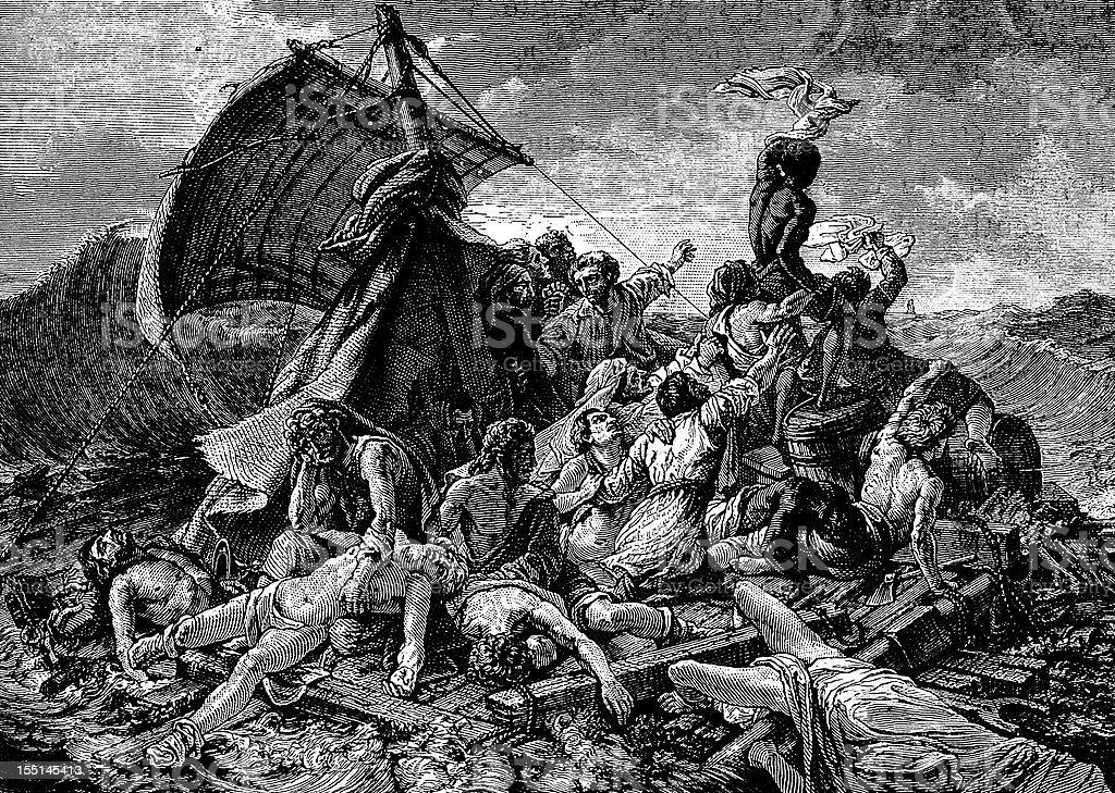 Medusa's raft by Gericault vector art illustration