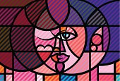 Illustration of pop-art/cubist lovers