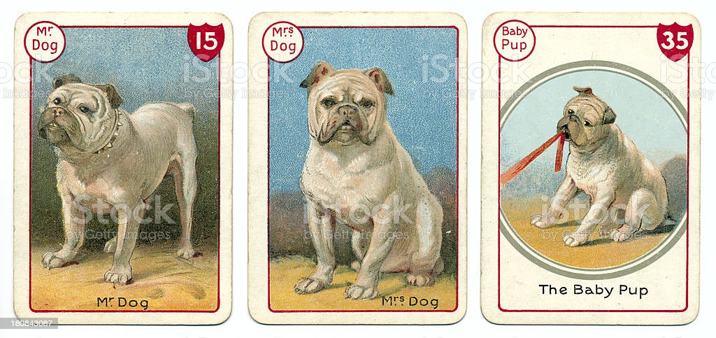 Three dog playing cards Victorian animal families game vector art illustration