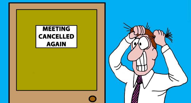 ilustrações de stock, clip art, desenhos animados e ícones de meeting cancelled - puxar cabelos