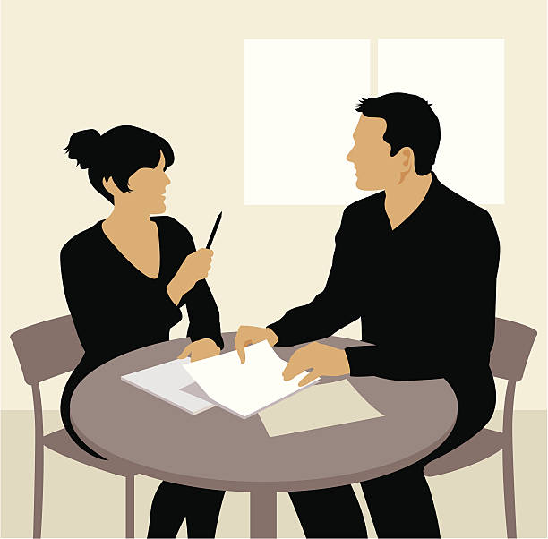 meeting - two people talking stock illustrations, clip art, cartoons, & icons
