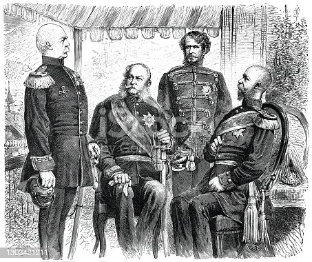 The double alliance was a secret defensive treaty that was signed on October 7, 1879 between the German Empire and Austria-Hungary. The text of the contract was not published until February 3, 1888. Illustration from 19th century