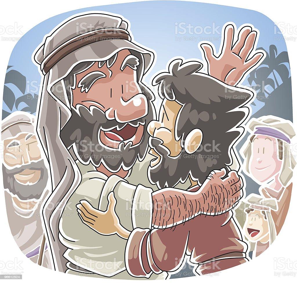 Riunione di Jacob e Esau - arte vettoriale royalty-free di Abbigliamento casual