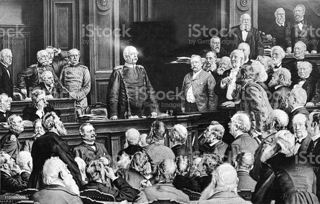 1882 年 2 月 6 日にドイツの国会議事堂の会議 - 19世紀のベクター ...