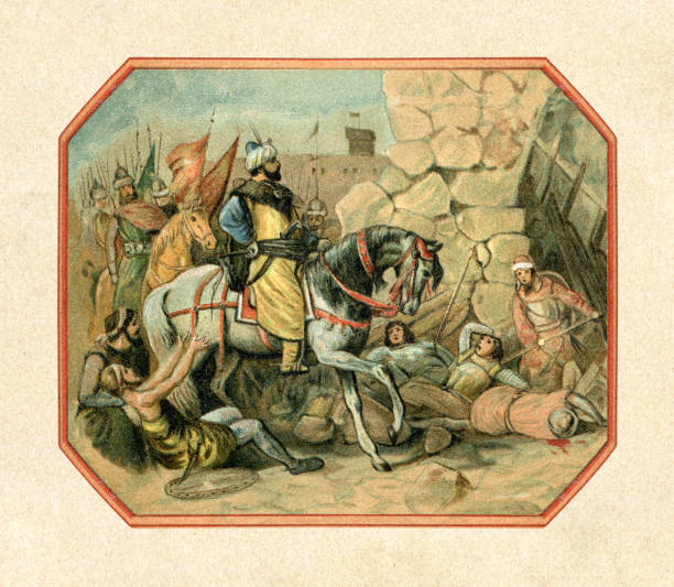 Mehmed II the Conqueror in Constantinople 1453 vector art illustration