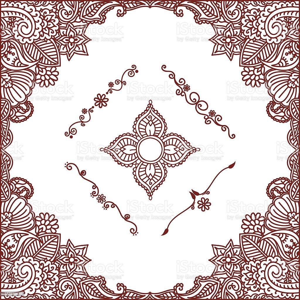 Mehndi Patterns Vector : Mehndi border and ornaments stock vector art more images