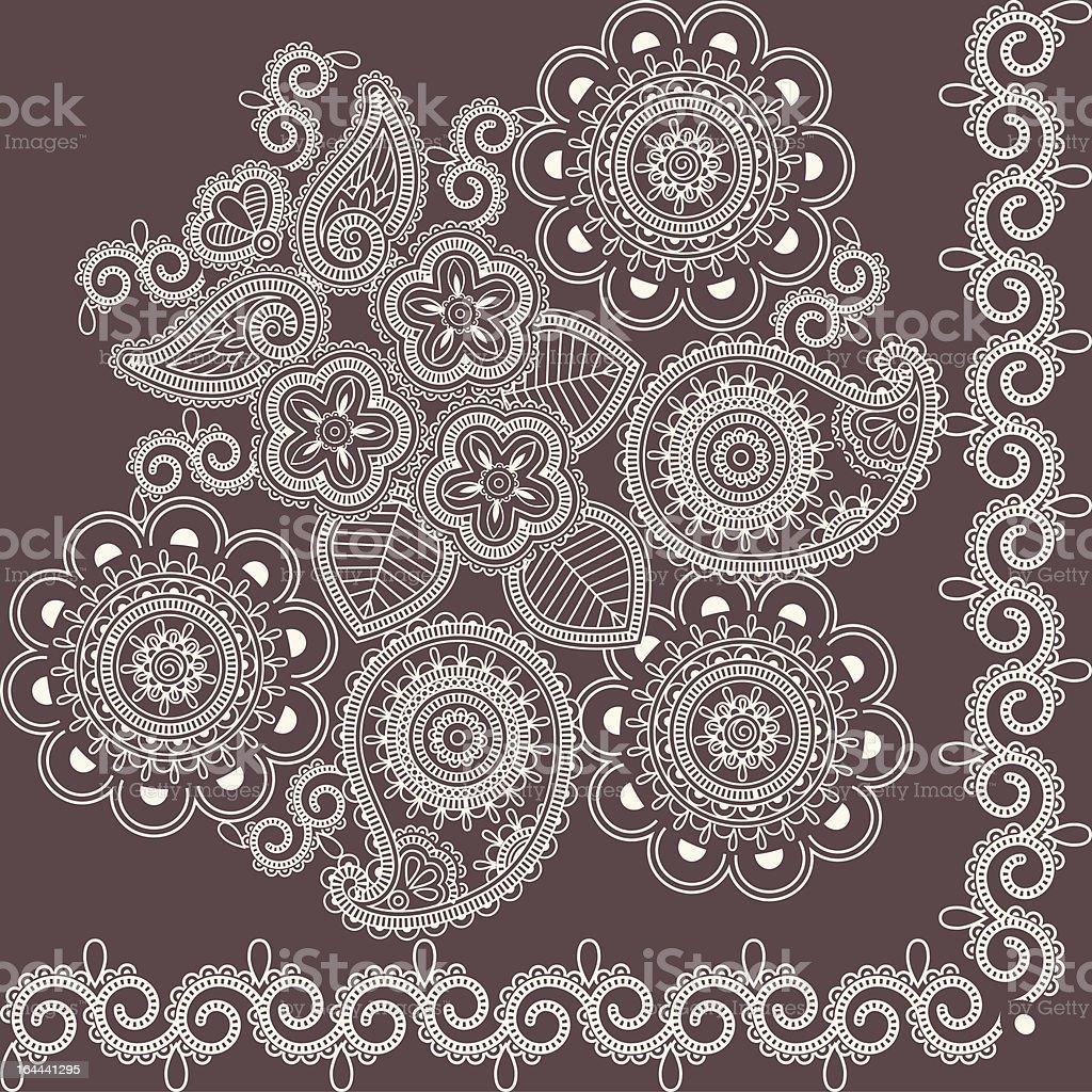 Mehndi flowers royalty-free stock vector art