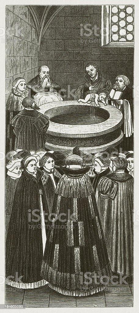 Melanchthon baptizing a child (Church Wittenberg), by Lucas Cranach royalty-free stock vector art