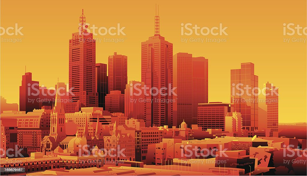 Melbourne, Australia vector art illustration