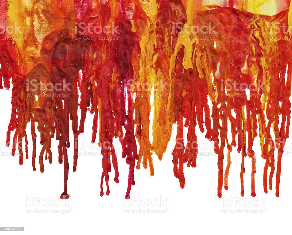 Melted dripping wax crayons art in fall colors.