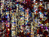 Stained Glass Forever series. Abstract background made of lines, shapes and color patterns for use with projects on design, creativity and imagination
