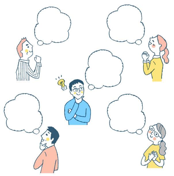 ilustrações de stock, clip art, desenhos animados e ícones de men and women and their speech balloons - mão no peito