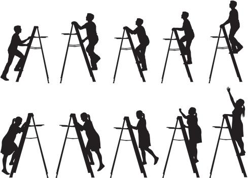 Men and women climbing up ladders