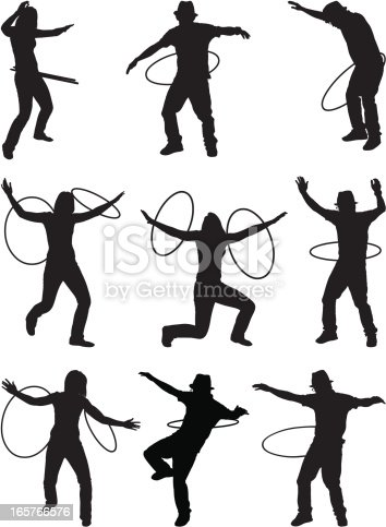 Men and women hula hooping
