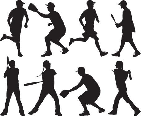 Men and women playing baseball