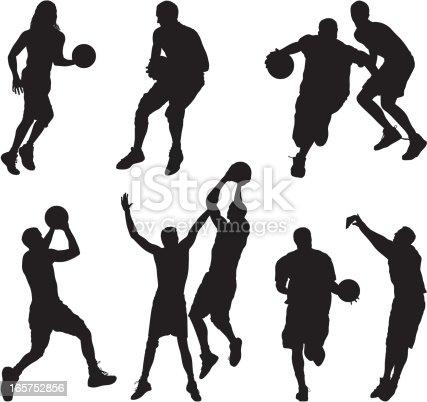 Men and women playing basketball