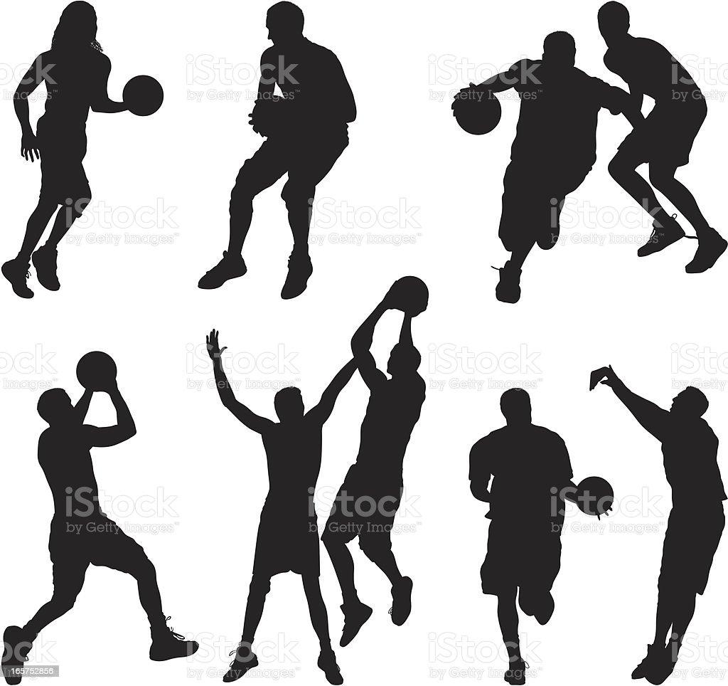 Men and women playing basketball vector art illustration
