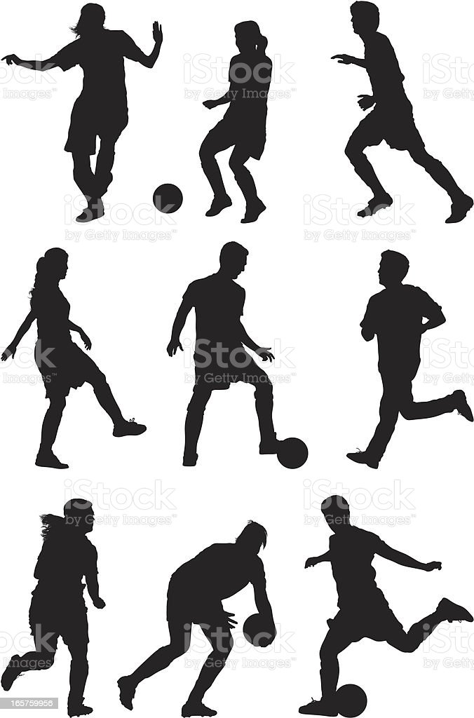 Mulheres e homens correndo jogar futebol - ilustração de arte em vetor