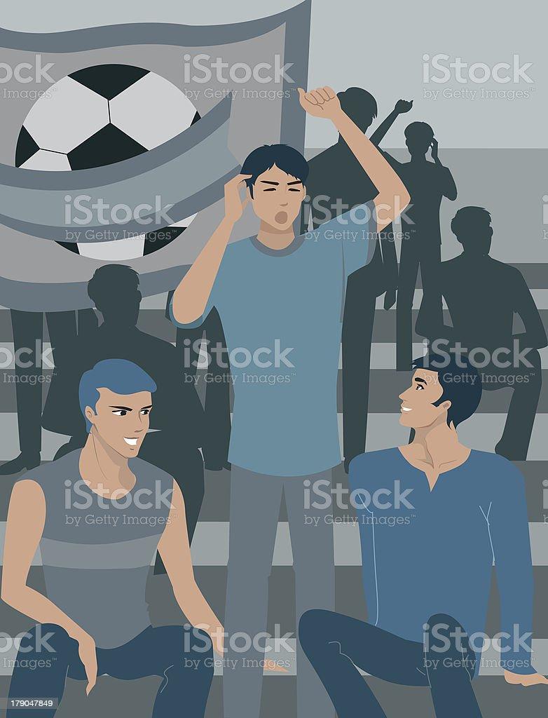 men at a soccer game vector art illustration