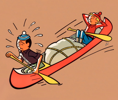 Men Canoeing, One Doing All the Work