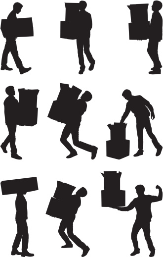 Men carrying moving boxes