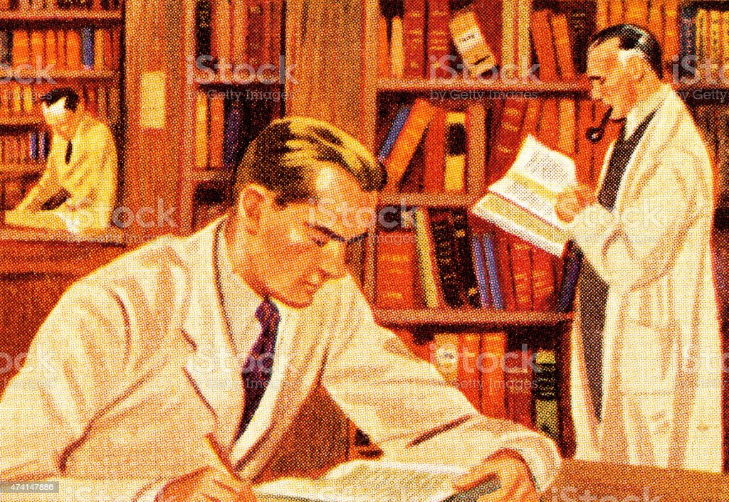 Men Doing Research in Library vector art illustration