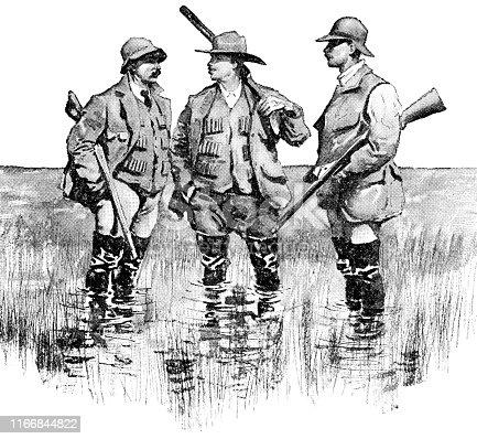 Three men duck hunting in North Dakota, USA. Vintage etching circa late 19th century.