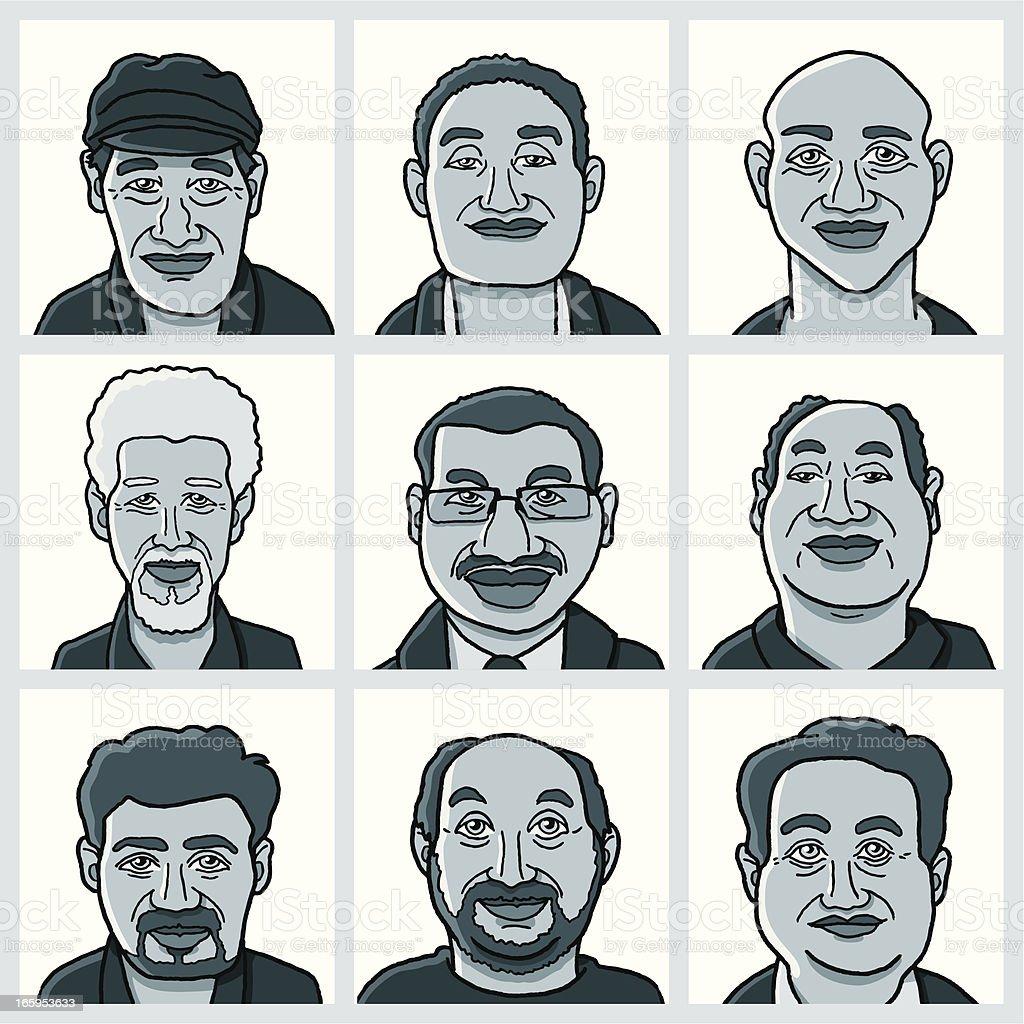 Men Faces Vector Set royalty-free stock vector art